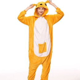 China Women Kigurumi Kangaroo Pajamas Sets Flannel Animal Hooded Pajamas Adult Winter Onesies Nightie Pyjamas Sleepwear Homewear cheap adult kigurumi animal pajamas suppliers