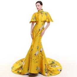 d00eb547447 Yellow Stain Vintage Cheongsam Long Modern Chinese Traditional Dress Women  Qipao Wedding Robe Chinoise Vestido Oriental Evening