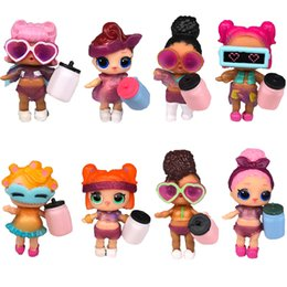 8 unids / lote LOL DOLL ropa de bricolaje Botella Chica LOL Muñeca Bebé Cambio con Gafas Figura de Acción de Cuerpo Suave Juguetes Niños Regalo para niñas
