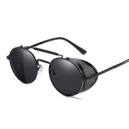 Round Steampunk Sunglasses Goggles Australia - Luxury-Retro Steampunk Sunglasses goggle Round Designer Steam Punk Metal Shields Sunglasses Men Women UV400 Gafas de Sol