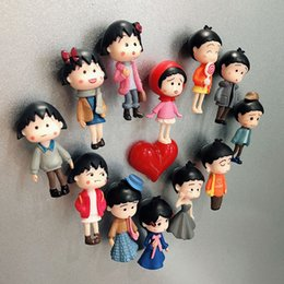 $enCountryForm.capitalKeyWord NZ - 4pcs 3D Chibi Maruko Fridge Magnets Refrigerator Note Memo Sticker Funny Girls Boys Kids Children Student Toys Birthday Gift Home Decor