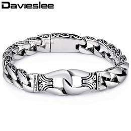 $enCountryForm.capitalKeyWord Australia - Davieslee Mens Bracelet Chain 316l Stainless Steel Punk Bracelets For Men Curved Silver Color Curb Chains Cuban Link 15mm Lhb10 J190703