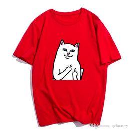 Mens Tees Australia - Mens womens designer t shirts summer middle finger street hip hop lovers cat T shirt trend sweatshirt tee casual men and women Tshirt SXXXL