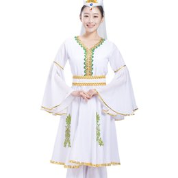Costumes for singers online shopping - National Uygur Dance Costumes Stage wear Women Xinjiang Dancer clothing sets white Performance dress for singers