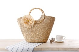 wholesale cotton beach totes NZ - Newest Arrival Fashion Handbags Flower Decoration Stylish Vogue Summer Holiday Beach Straw Style Girls Lady Love Totes Shoulders Bag Handbag