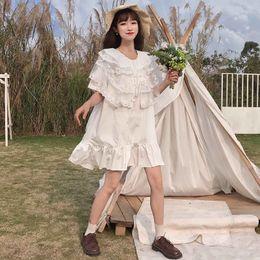 8af82de05 Summer Dress Korean Teens Girls Sweet Temperament Women's Fresh Peter Pan  Collar Loose Solid Color Lace Student Dress