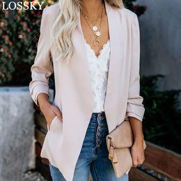 $enCountryForm.capitalKeyWord Australia - 2019 Korean Slim Small Suit Jacket Autumn Spring Long Sleeve Elegant OL Office Ladies Work Blazer S-5XL Women Fall Coat Blazers
