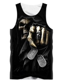 Discount shirt 3d skull print - Newest Skull Punisher Grim Reaper Printed Tops Sleeveless Hollow Out O Neck Casual Tank 3d Vest Bodybuilding Fitness Spo