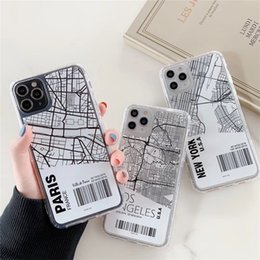 Wholesale phone cases paris for sale - Group buy INS Paris City Sketch map Phone Case For iPhone Pro X XS Max XR Plus new York Bar code Letter Clear Soft Cover Coque