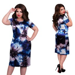 flowers fashion street style Australia - 2019 Fashion Brand Women Dress Plus Size 6xl Vestidos O Neck Print Flower Straight Casual Summer Knee Length Oversized Dress Y190516