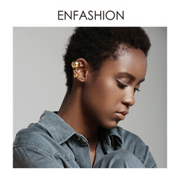 Wholesale ENFASHION Punk Ball Ear Cuff Clip On Earrings For Women Gold Color Rock Pea Earings Without Piercing Pendientes Mujer EC191038