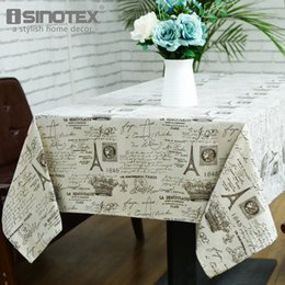 table tablecloths Australia - Home Textile Cloth The coffe Dandelion Linen Table Cloth Country Style Eiffel Tower Print Multifunctional Rectangle Table Cover Tablecloth