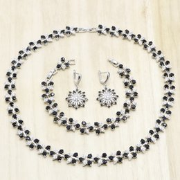 $enCountryForm.capitalKeyWord Australia - Black Flower Shape Zirconia 925 Silver Wedding Jewelry Sets for Women Necklace Earrings Bracelet Bridal Birthday Gift