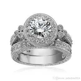 925 Sterling Silver Engagement Rings Australia - Size 5 6 7 8 9 10 Vintage Jewelry Round Cut 925 Sterling Silver White Topaz CZ Diamond Gemstones Wedding Engagement Bridal Ring Set Gift
