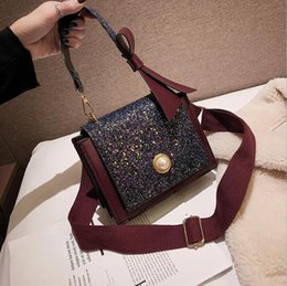 42229246f419 2019 new brand new wild casual slung packet net red small black bag fashion  small square bag luxury simple fashion ladies handbag sequin