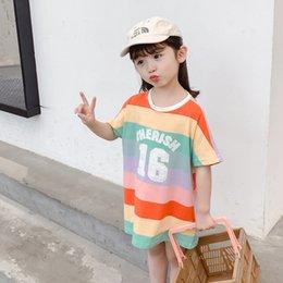 Girl Wears Shirts Australia - Girls Long T-shirt 2019 Summer New Cotton Short Sleeve Color Stripe T-Shirt Top Summer Classic Children's Wear