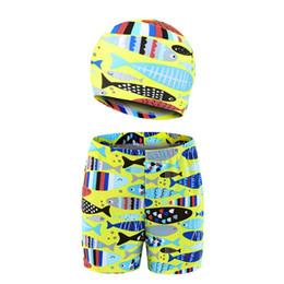 $enCountryForm.capitalKeyWord UK - 2019 Children Boy Summer 3-11Y Cartoon Animal Printed Trunks Hat Kids Swimming Beach Shorts+Cap Kit Sportswear Accessories