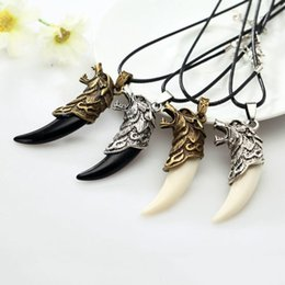 $enCountryForm.capitalKeyWord Australia - Men Antique Tribal Carved Wolf Fang Tooth Pendant Faux Leather Rope Necklace hot