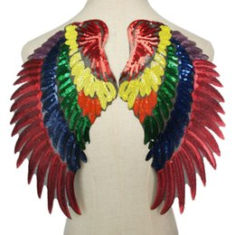 wing jeans UK - 2PCS Rainbow Sequin Feather Angel Wings Parrot Sew Iron on Patches 33CM For Dress Jeans Shirt DIY Appliques Decoration