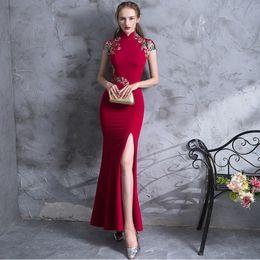 $enCountryForm.capitalKeyWord Australia - High Quality Embroidery Modern Cheongsam Red Sexy Qipao Long Traditional Chinese Dress Oriental Style Dresses Vestido De China
