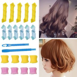 Women Hair Rollers Australia - 18pcs pack-Woman Rollers Plastic Wand Waves Pear Dry Wet Snail Curls Do Not Hurt Lazy People Automatic Curlers Hair Accessories