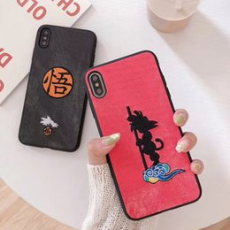 embroidered cloth NZ - Wholesale Dragon Ball Wukong Phone Case Embroidered Cloth For Iphone Xs Max All-Inclusive Soft Edge Cell Phone Cases for samsungS8 S10 NOTE8