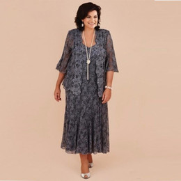 Mother fiesta dresses online shopping - Plus Size Gray full Lace Tea Length Mother of the Bride Dresses With Jacket Bride Mother Wedding Party Dress Formal vestidos de fiesta