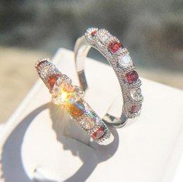 $enCountryForm.capitalKeyWord Australia - Drop Shipping High Quality Vintage Fashion Jewelry 925 Sterling Silver Pear Cut Topaz&Ruby CZ Gemstones Women Wedding Bridal Heart Ring Set