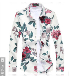 Satin Types NZ - 19 New type Men's Clothes Broken Flower Long Sleeve Shirts polos Hair Stylist tees Leisure Nightclub large size T shirts 4 colour M-7XL coat