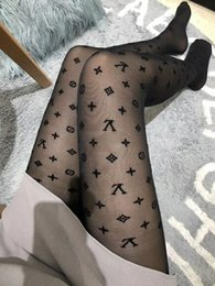 Cashmere Socks Knee Australia - 2019 Retail Black Lace Hollow Out Pantynose Sexy Mesh Hose Hot Sale European and American Letter Long Leggings Socks