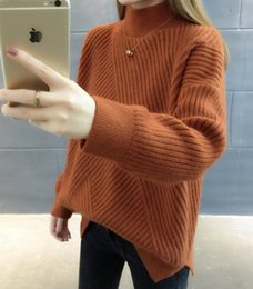 fresh net NZ - Strap loose lazy wind net red sweater high collar small fresh sweet long sleeve bottoming shirt female autumn