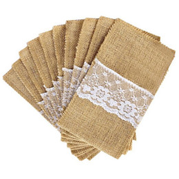rustic burlap lace wedding Canada - 1pcs Jute Hessian Burlap Linen Lace Cutlery Holder Vintage Rustic Birthday Wedding Party Decorations Tableware Supplies 62054