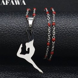 ballet necklaces Canada - 2019 Fashion Ballet Stainless Steel Red Chain Necklace for Women Silver Color Dancer Necklaces Jewelry collares mujer N19787