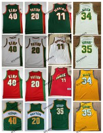 Wholesale NCAA Vintage 20 The Glove Gary Payton Kevin Durant 40 Reign Man Shawn Kemp 11 Detlef Schrempf Ray Allen Red Green Basketball Jersey