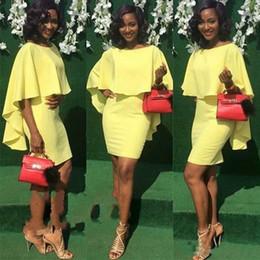 $enCountryForm.capitalKeyWord UK - 2019 African Nigerian Short Cape Cloak Cocktail Dresses Half Sleeves Cheap Black Girls Dance Club Wear Prom Dress Party Gowns Custom Made