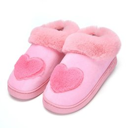 Heart Shaped Plush NZ - Winter slippers women shoes 2018 New heart-shaped cotton women slippers warm plush soft Indoor home shoes woman
