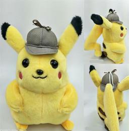 $enCountryForm.capitalKeyWord Australia - Hot 25CM Detective Pikachu Plush Toys Pikachu Plush Dolls Anime plush Best Xmas Gift for Kids