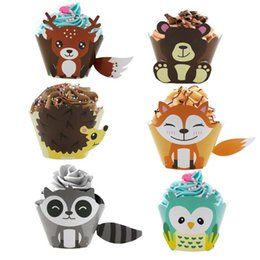 $enCountryForm.capitalKeyWord Australia - 12pcs Cartoon Animals Cupcake Wrappers Jungle Party Favors Birthday Party Decorations Kids Baby Shower Supplies Cake Decorating