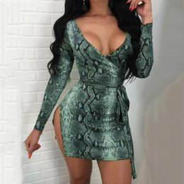 a8a3014eac Serpentine Print dresses 2019 chic sexy bodycon v neck long sleeves party club  wear femme vestidos WS6080y