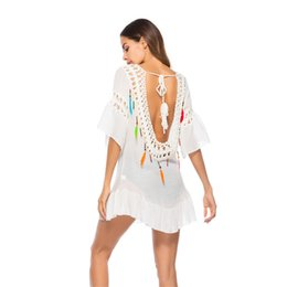 Wholesale New backless color feather tassel blouse beach sunscreen clothing foreign trade bikini swimsuit outside So cool