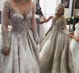 $enCountryForm.capitalKeyWord UK - Vestidos Dubai Arabic Bridal Gowns Plus Size Long Sleeves Luxury Crystals Beaded Lace Church Ball Gown Wedding Dresses Sheer O Neck AL2725