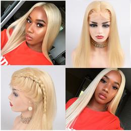 Cheap Full Ombre Wigs Australia - Honey Blonde Human Hair Wigs Virgin Brazilian Hair Glueless Cheap Ombre 613 Blonde Human Hair Lace Front Wig Colored For Women