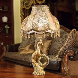 $enCountryForm.capitalKeyWord Australia - New European style luxury table lamp cloth lampshade resin stand antique bedside deco table light retro reading lampe fixture