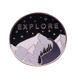 Wholesale Snow mountain explore badge starry night landscape pin nature travel jewelry adventurer collection
