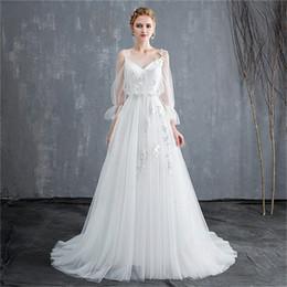 47fea7638a Mingli Tengda 2018 Simple Bride Princess Dream 3 4 Sleeve Wedding Dresses  Bridal Gowns Sexy V Neck Backless Wedding Dress Vestidos De Novia