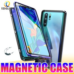 Discount double frame glasses - For Huawei P30 Pro Mate20 Lite P20 Dual Glass Magnetic Adsorption Metal Phone Case Aluminum Alloy Frame with Double Temp