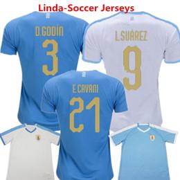 Großhandel Fußball-Trikots Uruguay Fußball-Trikot Luis Alberto Suarez Weltmeisterschaft Godin 2019 Edison Cavani Forlan-Fußballspiel