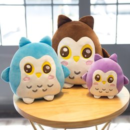 stuffed animal beds 2019 - Plush Soft Owl Toy Pillow Stuffed Animal Plump Owl Toy For Children's Day Gift Or Bedroom Decoration Bed 22 30 40 C