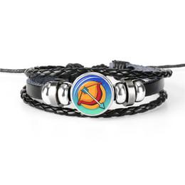 Gem Men NZ - Flash Deal Silver 12 Constellation Zodiac Sagittarius Time Gem Glass Dome Charm Bracelet For Women Men Leather Rope Beaded Wrap Jewelry Gift