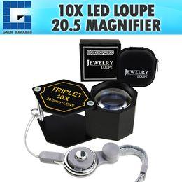 Magnification Loupes Australia - GEM-250 10x Magnification Jewelery Loupe, 20.5mm Triplet Lens Achromatic Optical Glass Metal (Aluminum) Body Black Frame Hexagonal Design Ki